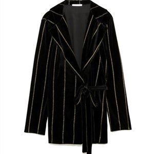 Zara Black Velvet Belted Blazer With Gold Stripes